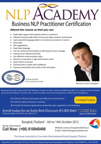 Business NLP Practitioner in Bangkok - 6th to 14th October ...